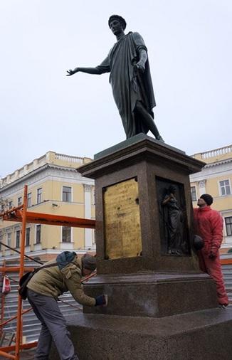 Одесского Дюка оцепили и «отдраили» (ФОТО), фото-2