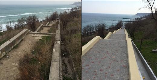 1 На 16-й станции Фонтана в Одессе отремонтировали лестницу к морю