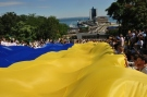 In Odessa, on the eve of Independence Day on the famous Potemkin stairs unfurled a giant flag of Ukraine. Photo